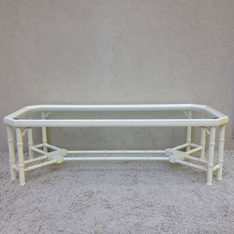 American Faux Bamboo White Maison Jansen Style Coffee Table For Sale