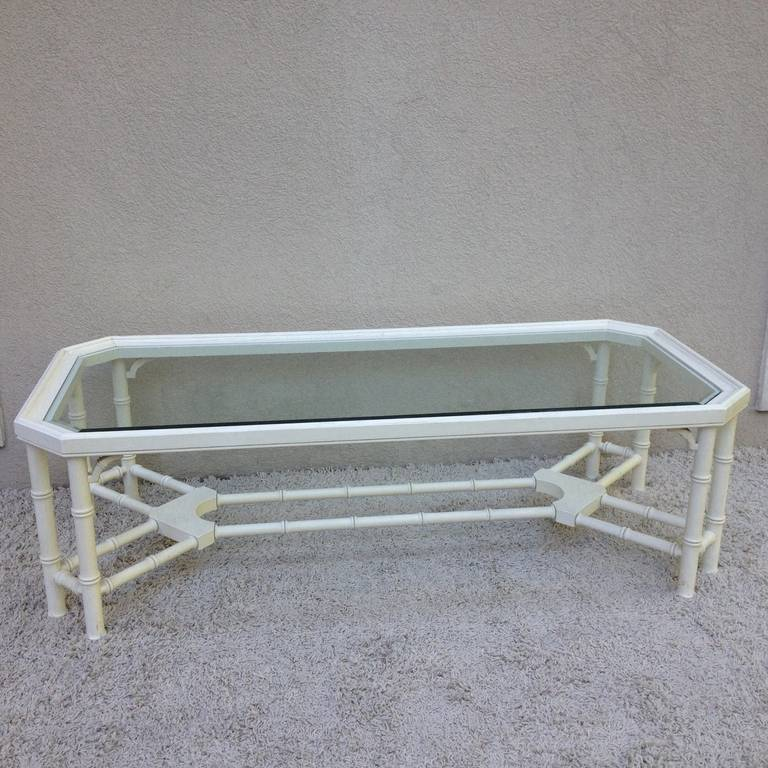 Mid-20th Century Faux Bamboo White Maison Jansen Style Coffee Table For Sale