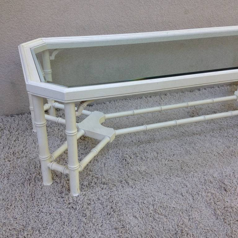 Glass Faux Bamboo White Maison Jansen Style Coffee Table For Sale