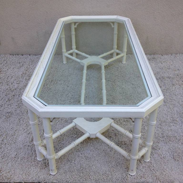 Faux Bamboo White Maison Jansen Style Coffee Table For Sale 1