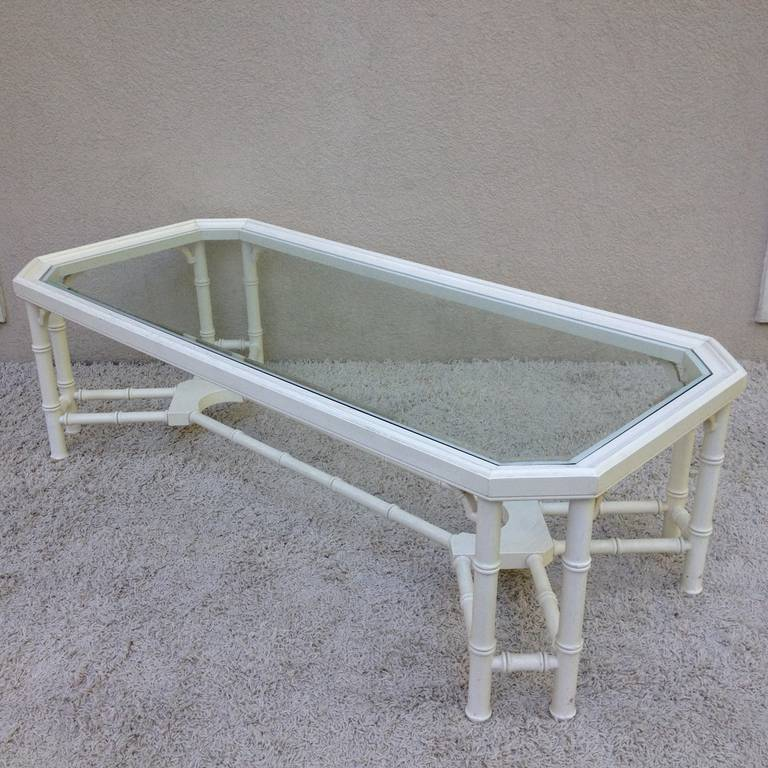 Hollywood Regency Faux Bamboo White Maison Jansen Style Coffee Table For Sale