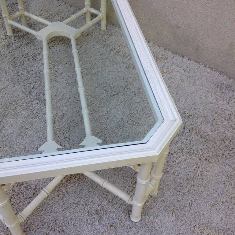 Faux Bamboo White Maison Jansen Style Coffee Table For Sale 2