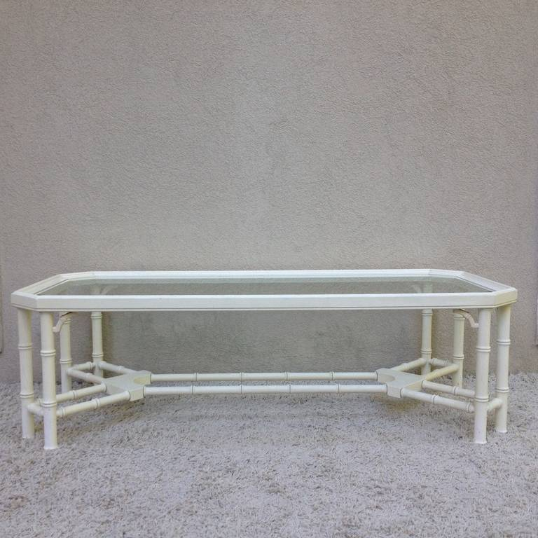Faux Bamboo White Maison Jansen Style Coffee Table In Excellent Condition For Sale In Westport, CT