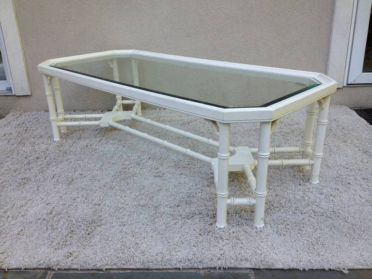 Faux off white Bamboo cross bar bottom beveled glass top coffee table, in the style of Maison Jansen