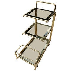 Mastercraft 1960s Rolling Bar Cart with Mirrored Glass Bottle Holder
