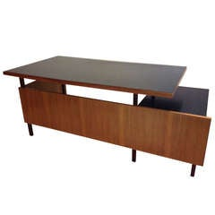 Milo Baughman Large Multi Level Modernist Desk / Black Top