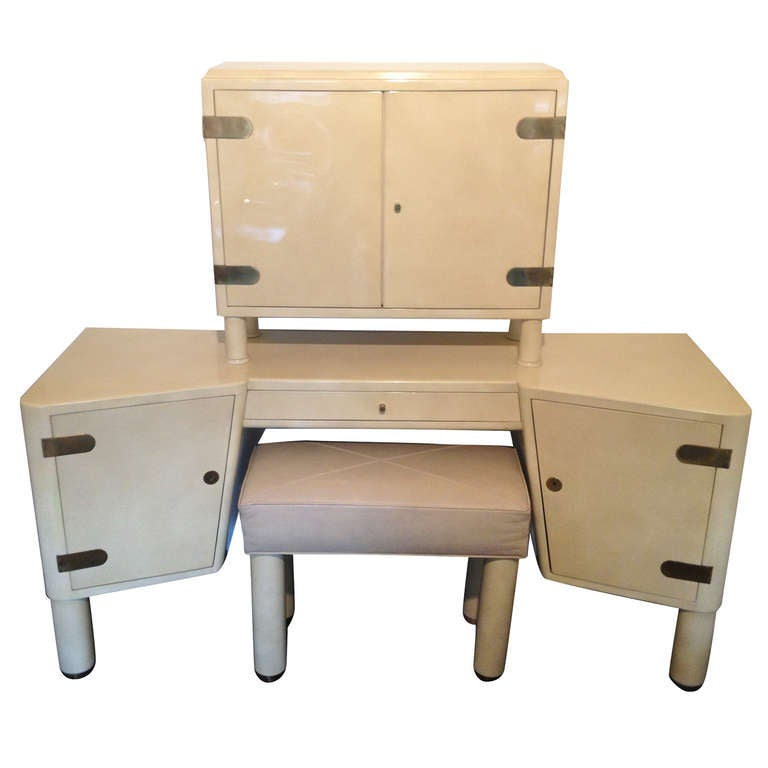 French Parchment Vanity And Stool