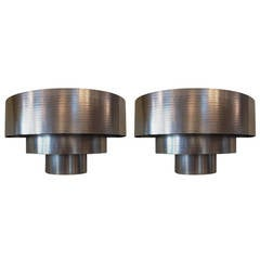 Pair of Art Deco Polished Steel Skyscraper Sconces