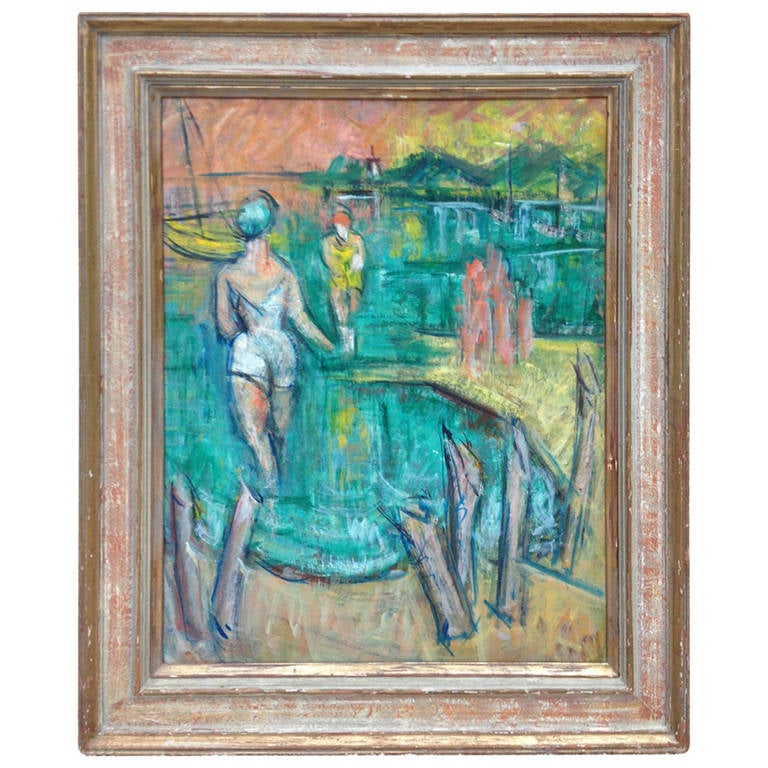 """George Schwacha """"New Jersey Bathers"""" Painting"""