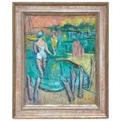"George Schwacha ""New Jersey Bathers"" Painting"