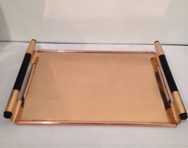 Walter Von Nessen, Copper Tiffin Tray for Chase co. with black wood handles