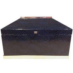 Blue Python Snakeskin Box Attributed to Karl Springer with Silver Mountings