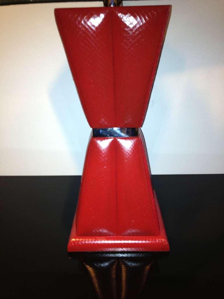 karl springer style red python lamp for sale at 1stdibs. Black Bedroom Furniture Sets. Home Design Ideas