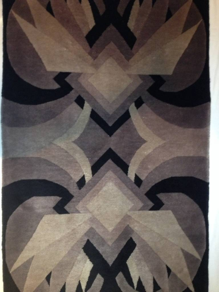 Rare Art Deco Geometric Handmade Wool Rug At 1stdibs