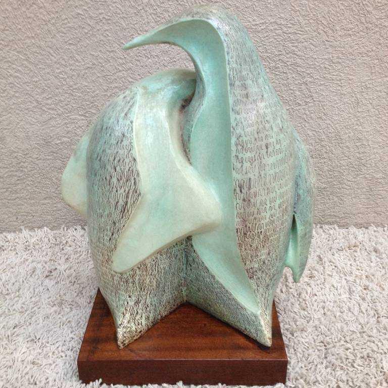 Mid-20th Century Signed Herman ceramic Penguin Sculpture For Sale