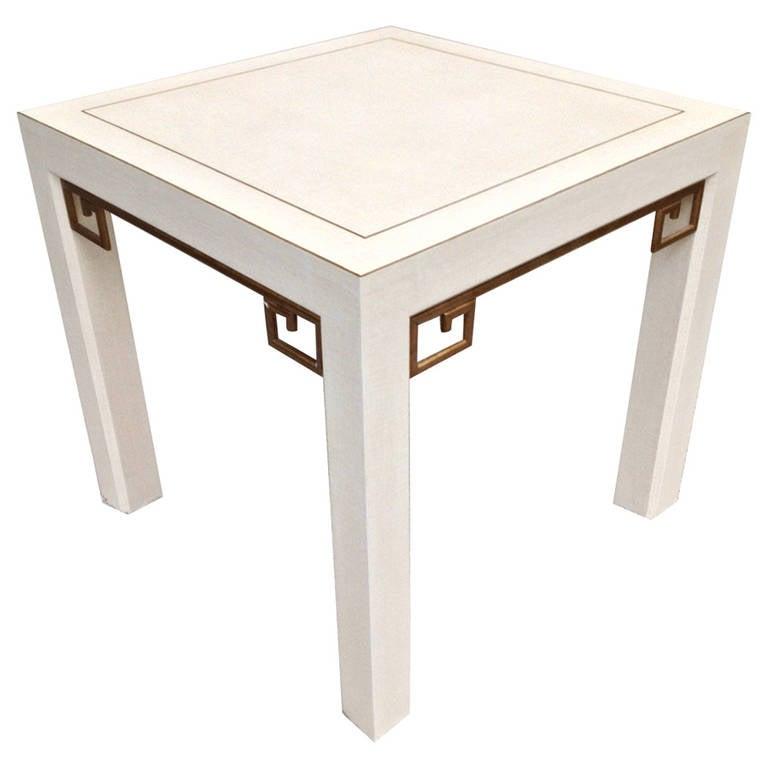 Karl Springer Style Linen Gilt Greek Key Table