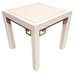 Karl Springer Style Linen Gilt Greek Key Table