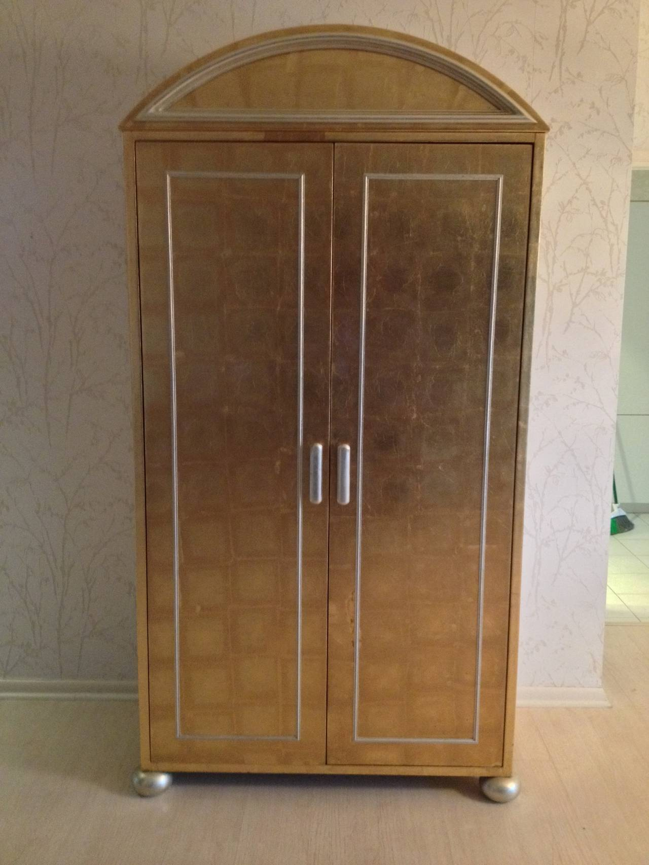 Hollywood Regency Gold and Silver Leaf Cabinet For Sale at ...