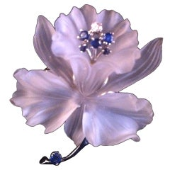 Frosted Carved Crystal 14k Sapphire Diamond Flower Pin