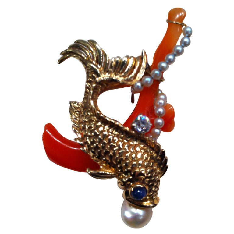 Seaman Schepps Gold Stone Fish Pin At 1stdibs