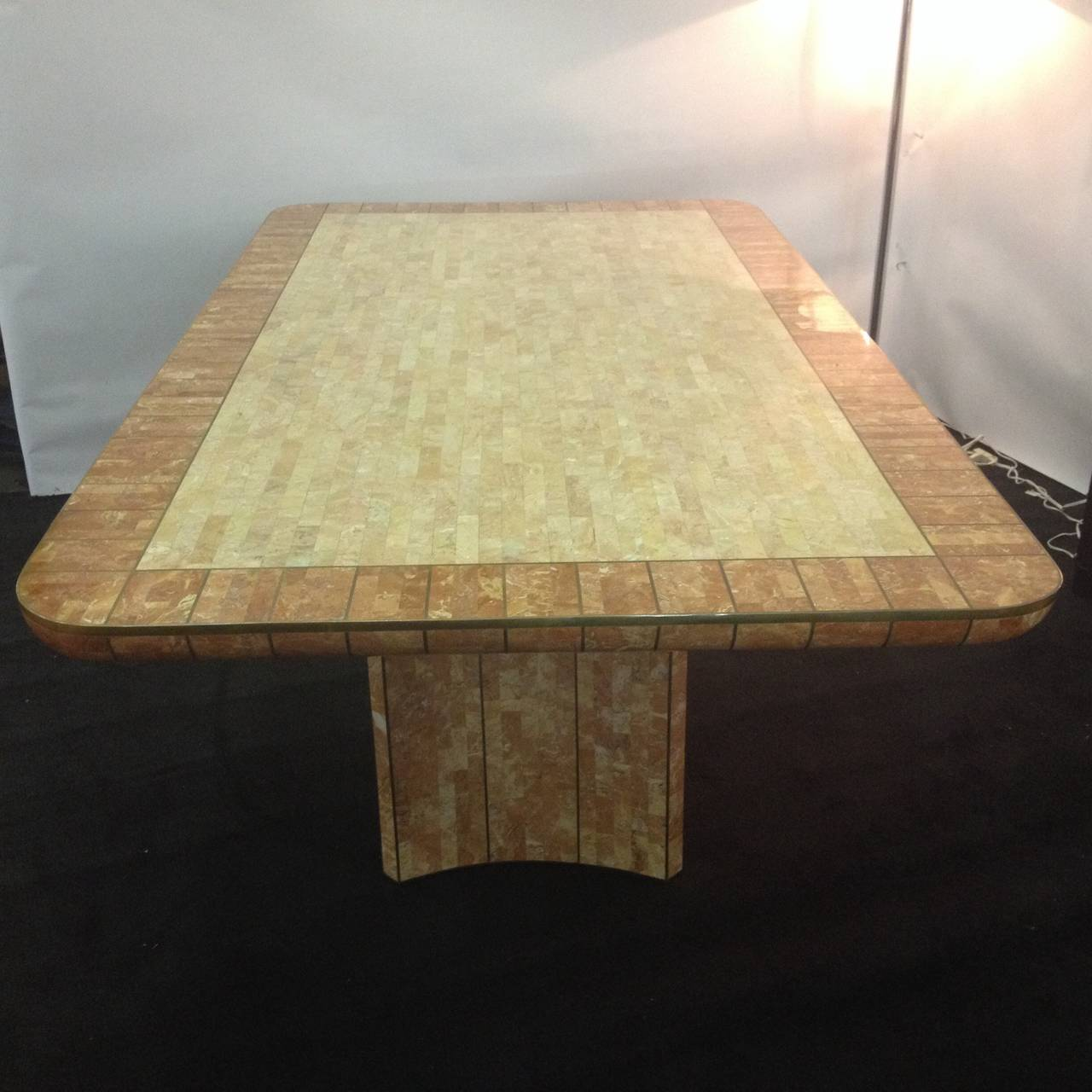 North American Maitland Smith Fossil Stone Bronze Inlaid Dining Table For