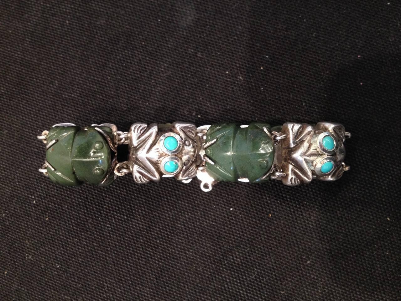 Rare William Spratling sterling turquoise frog designed early bracelet.
