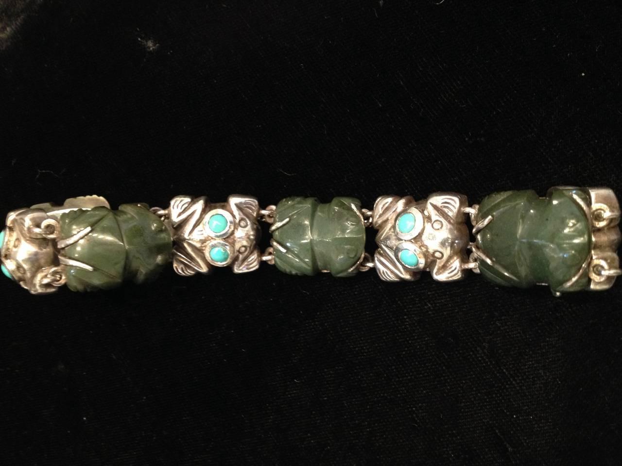 Mid-20th Century Rare William Spratling Sterling Turquoise Frog Bracelet For Sale
