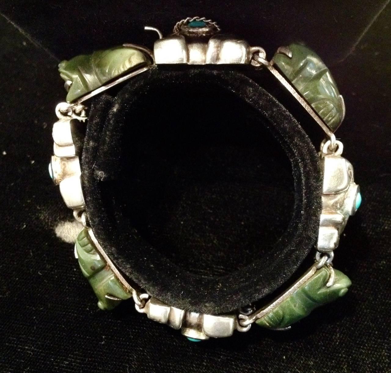 Rare William Spratling Sterling Turquoise Frog Bracelet For Sale 1
