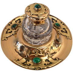Art Nouveau Brass Crystal Malachite Inkwell