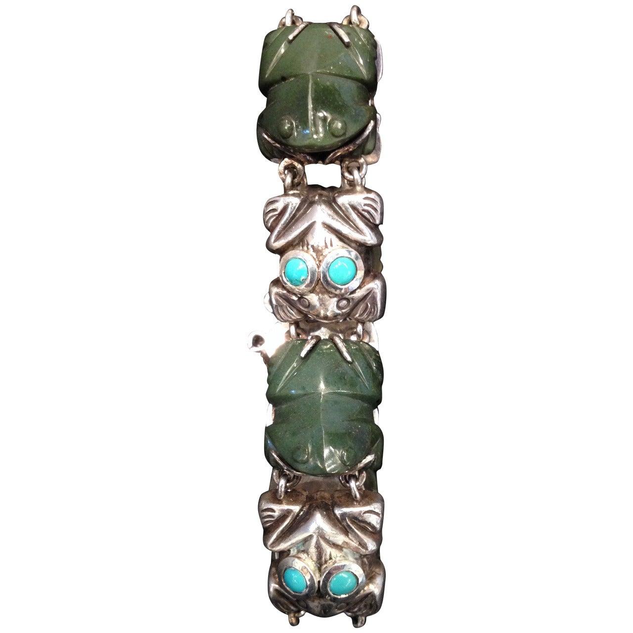 Rare William Spratling Sterling Turquoise Frog Bracelet