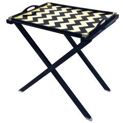 Oscar De La Renta Black and Crème Lacquered Tray Table