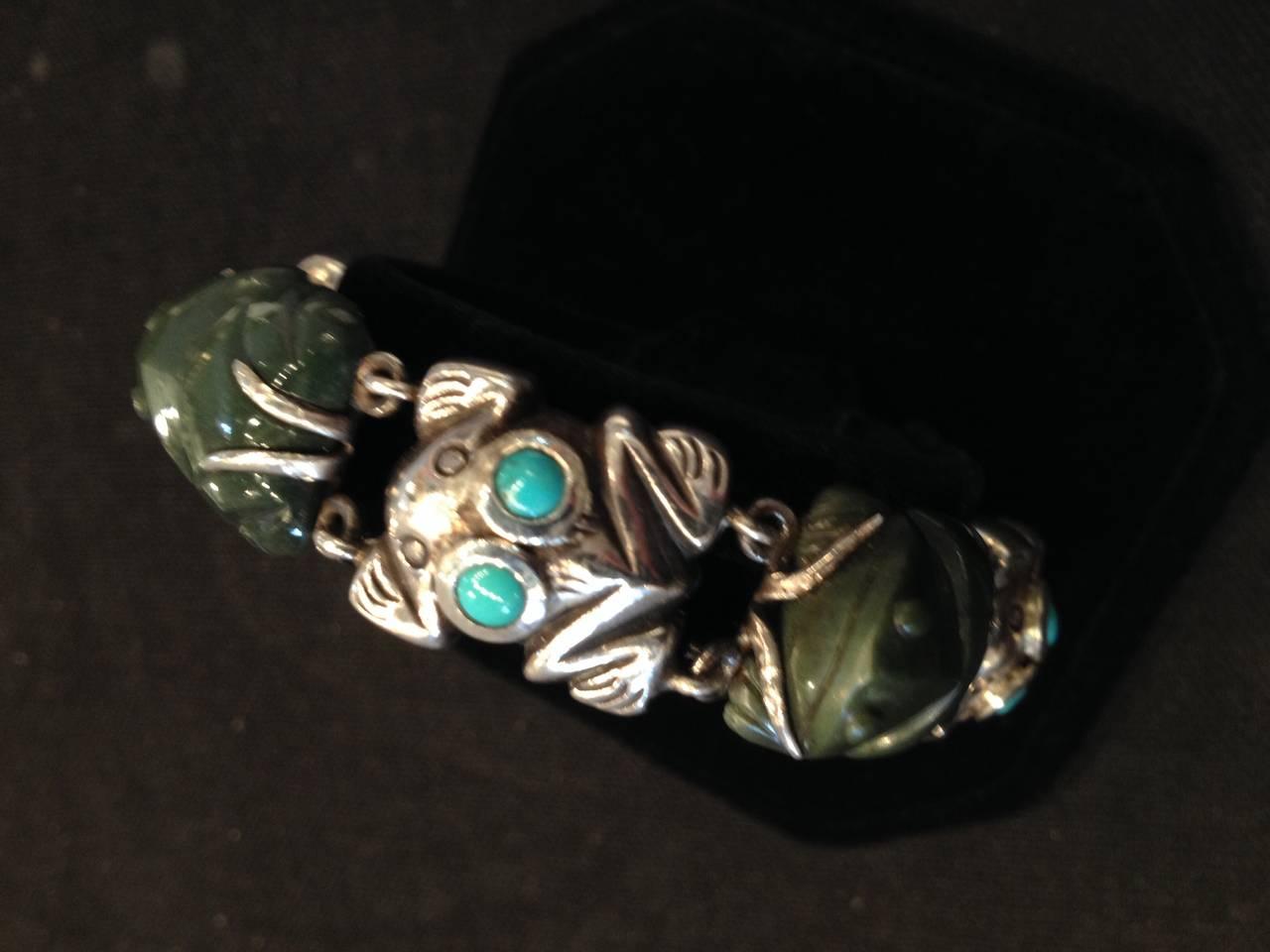 Mexican Rare William Spratling Sterling Turquoise Frog Bracelet For Sale