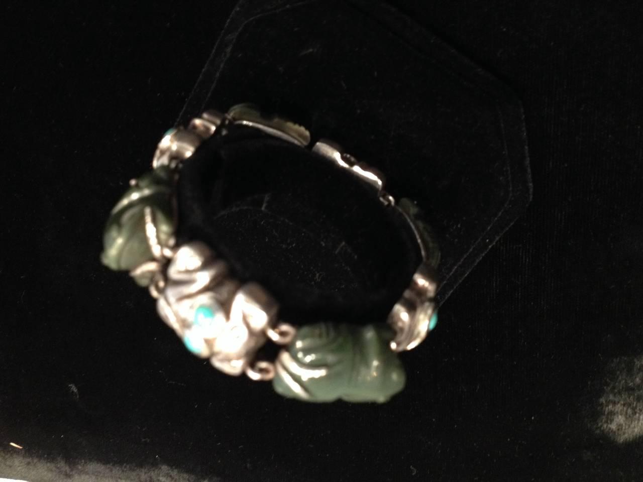 Rare William Spratling Sterling Turquoise Frog Bracelet For Sale 3