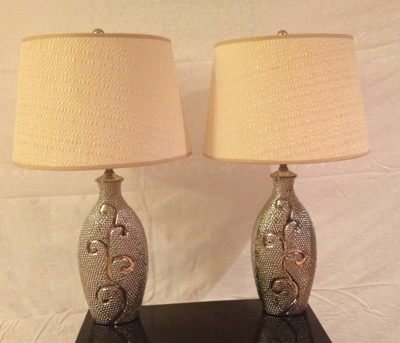 Pair Silver Mercury Glass Designed Lamps For Sale At 1stdibs