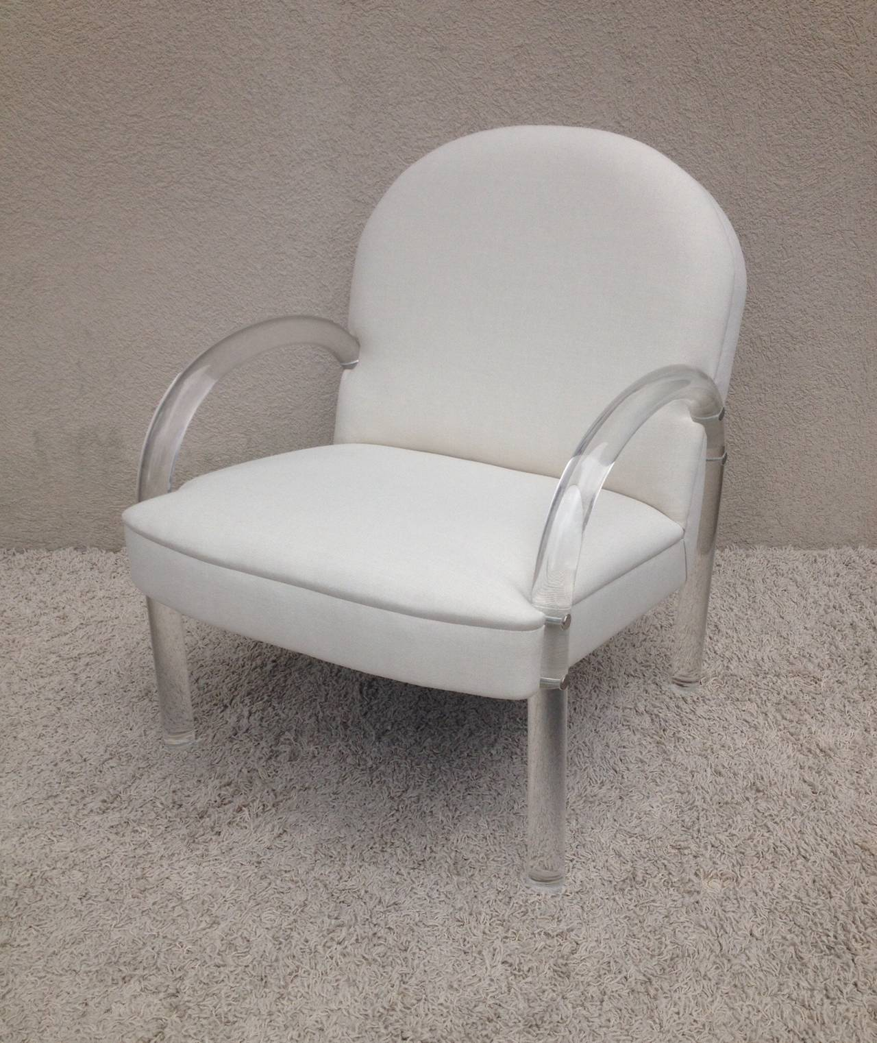Pair of Charles Hollis Jones Lucite Club Chairs In Excellent Condition For Sale In Westport, CT