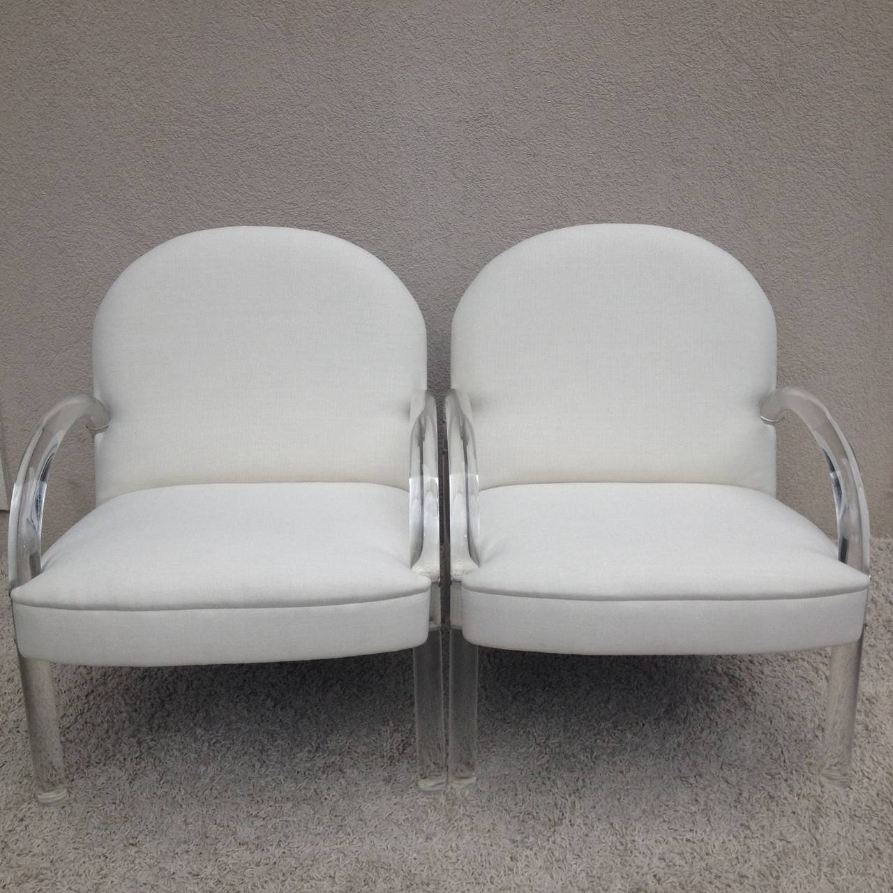 20th Century Pair of Charles Hollis Jones Lucite Club Chairs For Sale