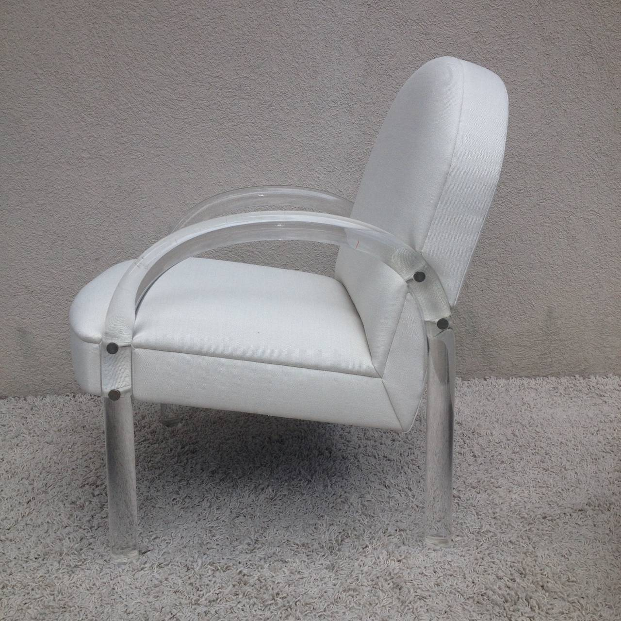 American Pair of Charles Hollis Jones Lucite Club Chairs For Sale