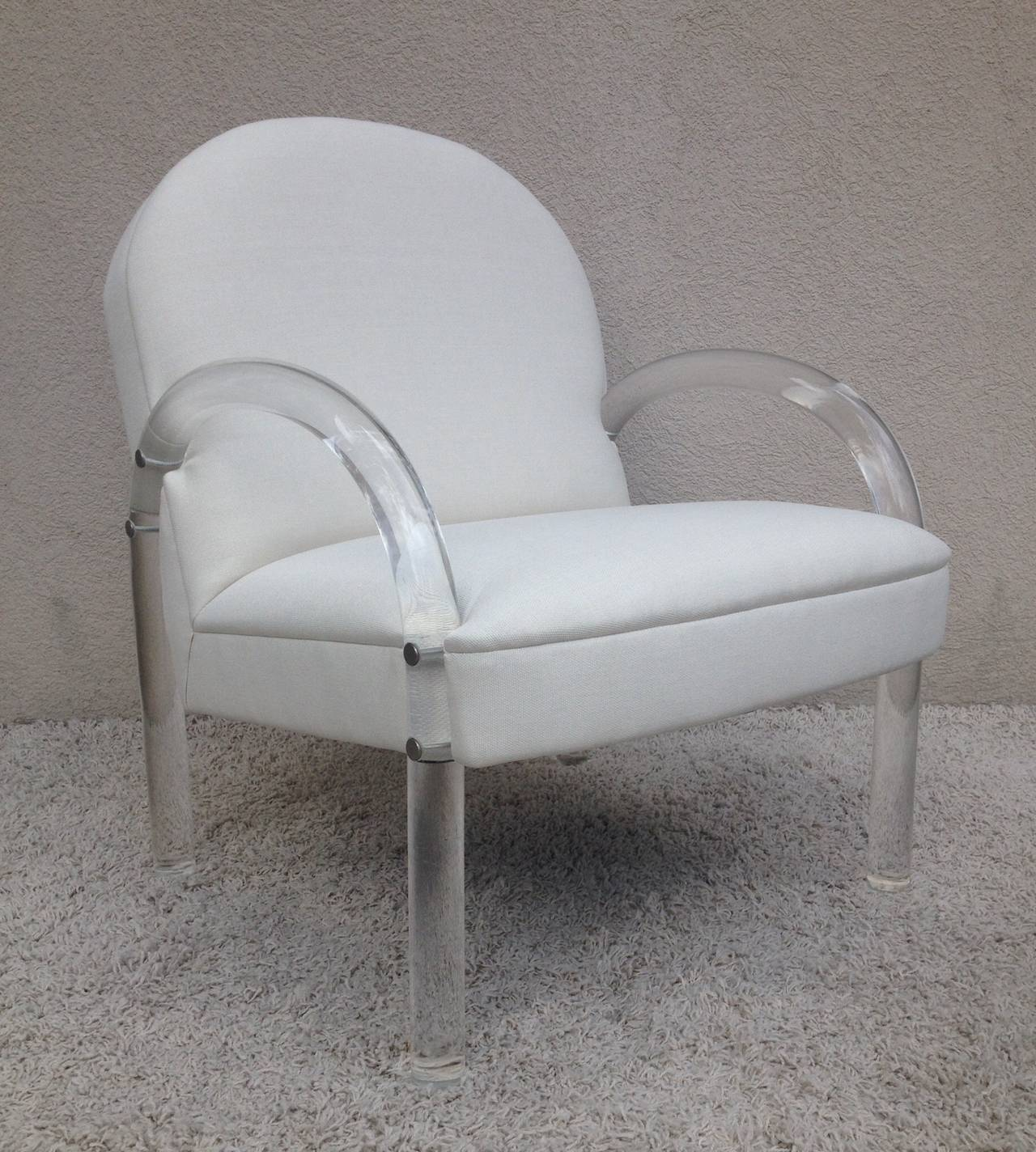 Mid-Century Modern Pair of Charles Hollis Jones Lucite Club Chairs For Sale