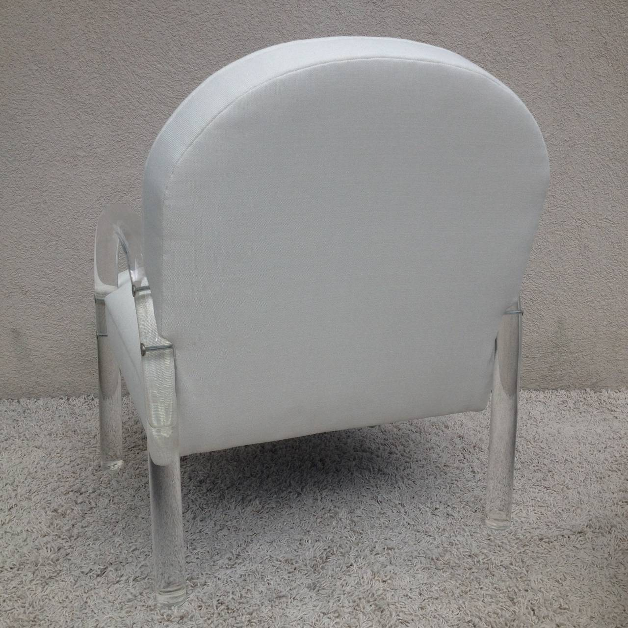 Pair of Charles Hollis Jones Lucite Club Chairs For Sale 1