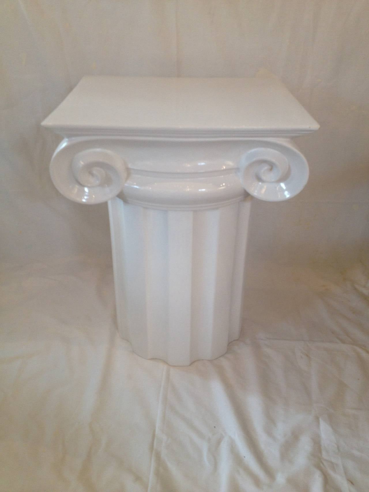 Ionic Column White Ceramic Mid Century End Table Or