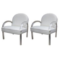 Pair of Charles Hollis Jones Lucite Club Chairs