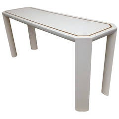 Springer Style Lacquer Gold Leaf Border Console or Sofa Table