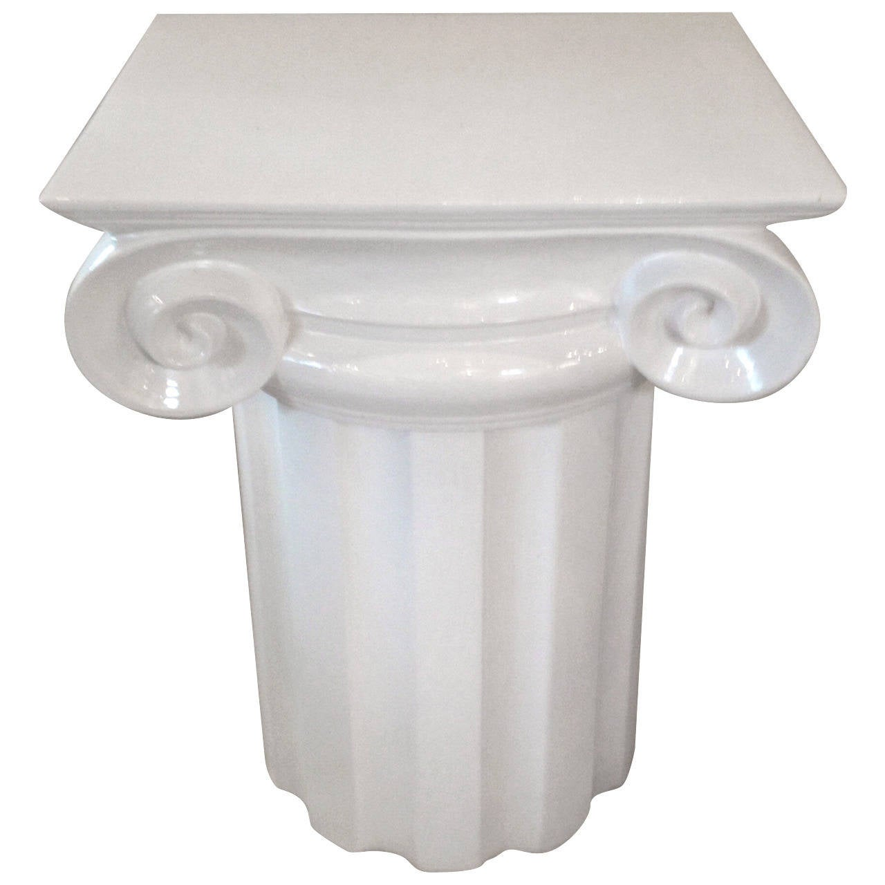 Ionic column white ceramic mid century end table or pedestal for sale at 1stdibs - Ceramic pedestal table base ...