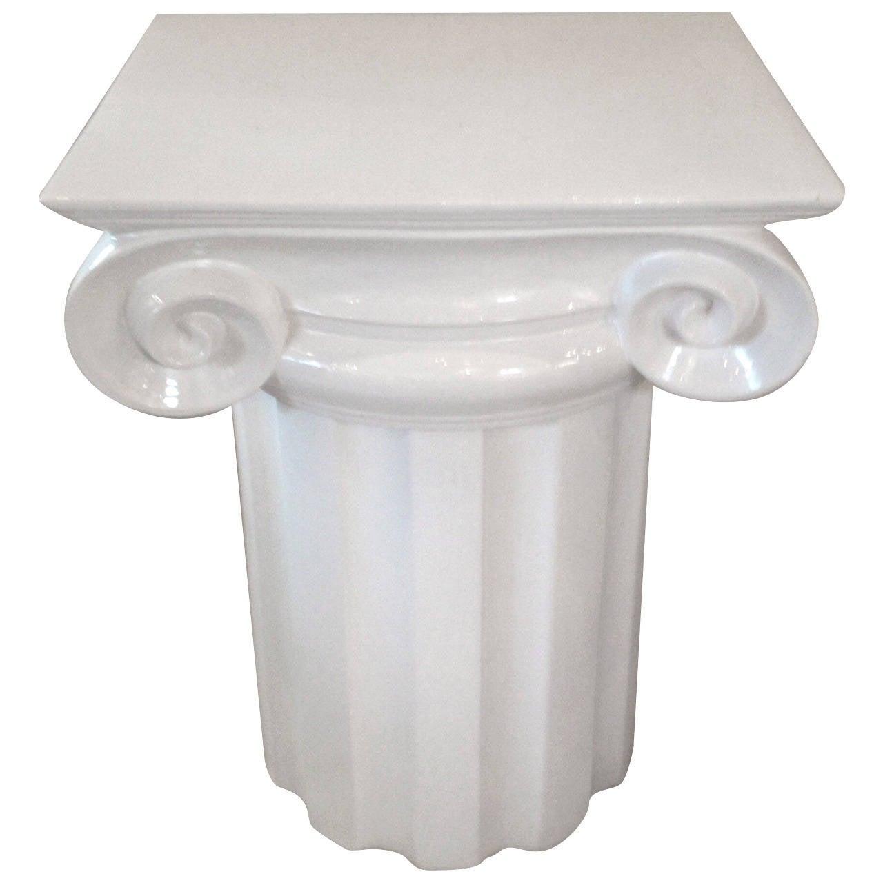 Ionic Column White Ceramic Mid-Century End Table or Pedestal