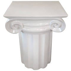 Ionic Column White Ceramic Mid-Century End Table or Pedestal