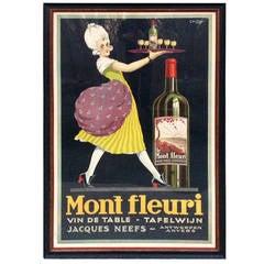 "Rare ""Chilton"" French Wine Poster Mont Fleuri Jacques Neefs"