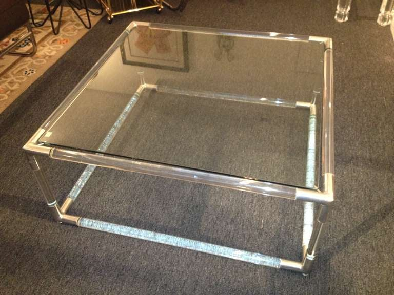 Charle Hollis Jones Lucite Square Cocktail Table For Sale At 1stdibs