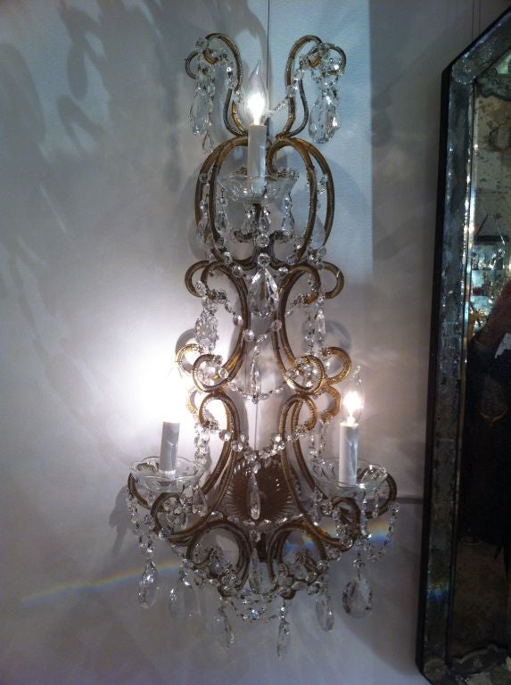 French crystal sconces two pair, circa 1930.