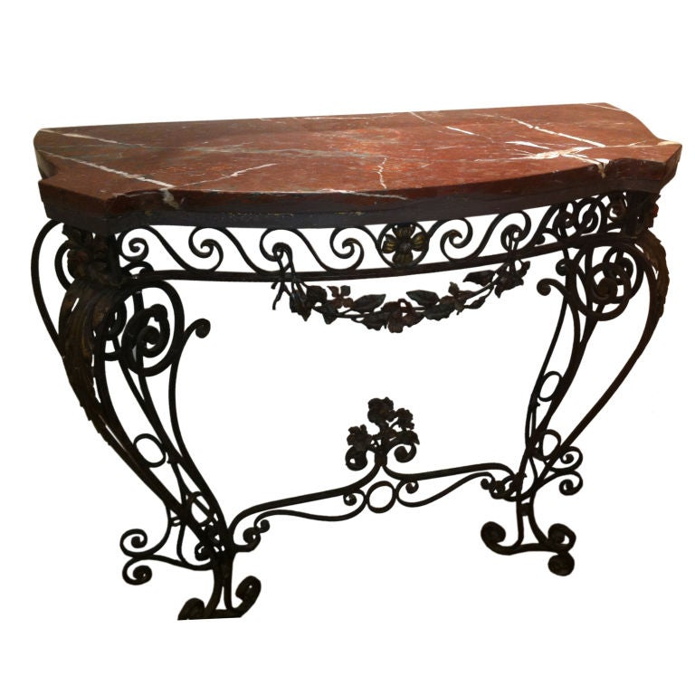 1930 39 s wrought iron console table at 1stdibs for Wrought iron sofa table base