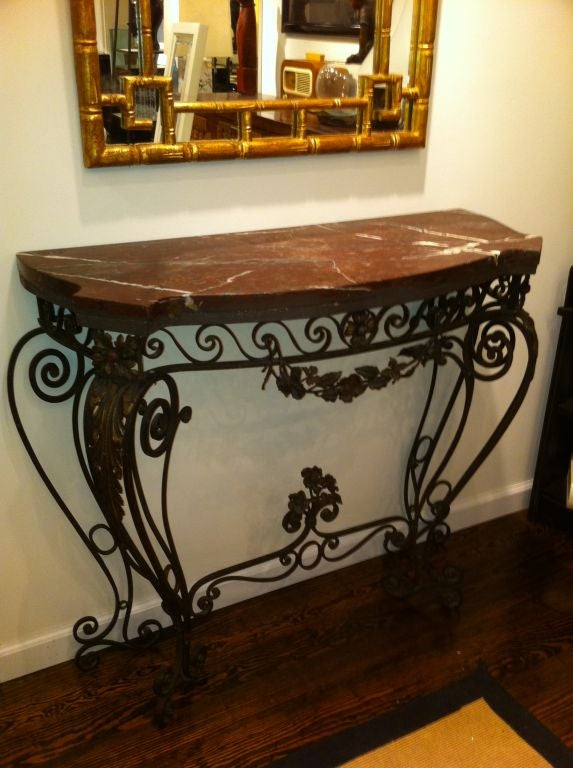 Exceptional 1930s Wrought Iron Console Table 2